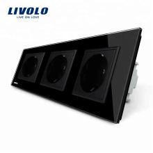 Livolo Manufactory Стандартные тройные розетки для электроснабжения ЕС VL-C7C3EU-12