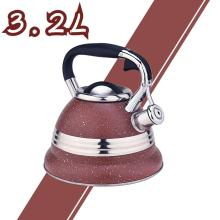 Rojo con diseño de acero inoxidable Whistling Tea Kettle