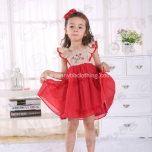 Flaming Red Girls' Embroidered Smocked Dress
