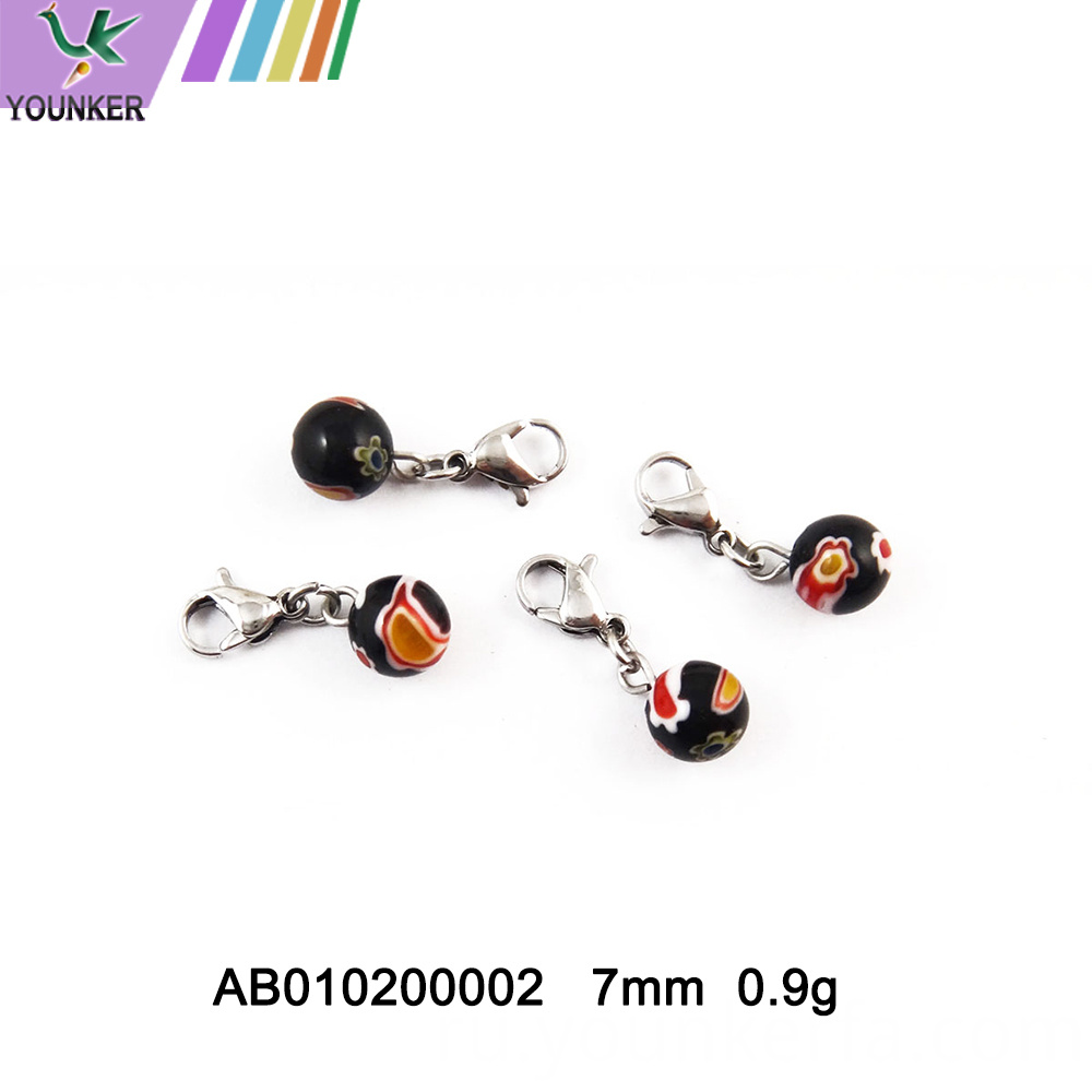 Colful Glass Pendant With Lobster Clasp Small Ring For Jewelry Market