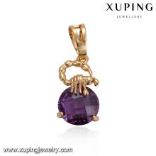 32870 Xuping bijoux de fête de mariage fantaisie ronde bijoux en or synthétique CZ pendentif rempli