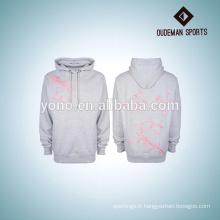 2017 blanc hoodies haute qualité OEM pull en gros plaine blanc gris à capuche