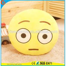 Alta calidad novedad diseño decorativo emoji expresión facial almohada de felpa cojín de emoji