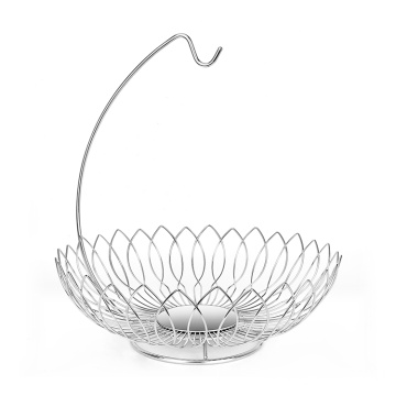 Fashion High-Quality Countertop Decoration Vegetable Basket Single-Layer Metal Drain Fruit Basket Rack Stand