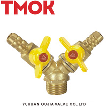 Brass double butterfly handle outer wire gas valve