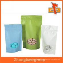 Food packaging china supplier rice paper stand up dried food packaging bag with window and zipper