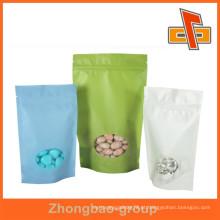 Embalagem de alimentos fornecedor de china papel de arroz stand up saco de embalagem de alimentos secos com janela e zipper