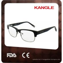 Acétate fait à la main de 2017 combiné avec des montures optiques en métal, des lunettes en acétate de combinaison de surface en bois