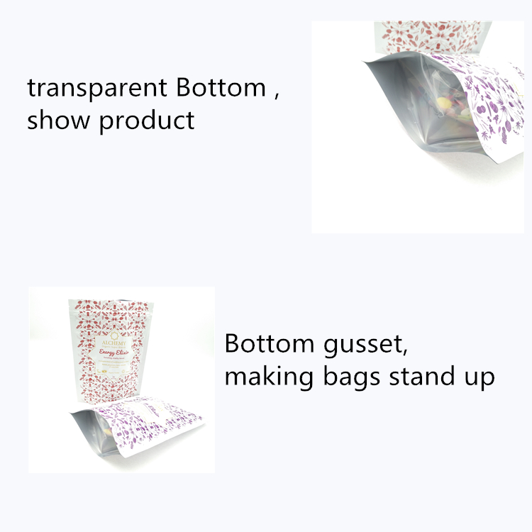 Transparent Bottom Plastic Stand Up Bag