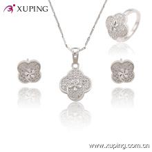 63760 Fashion Rhodium Lace Cubic Zirconia Jewelry Set
