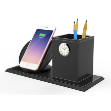 Pen Vase Pencil Holder Stationery Desk Tidy Container Gift Clock Wireless Quick Charger