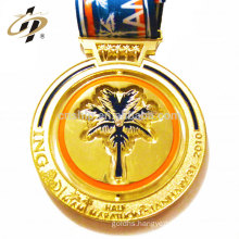 Custom gold metal running trophies medals with soft enamel