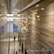 Customized Hang lamp Luxury Glass leaves Chandelier For Hotel lobby Decoration Modern Pendant Lamp