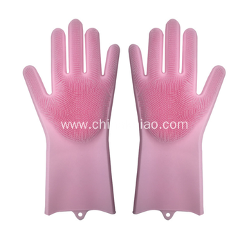 Kitchen Cleaning Tool Silicone Long Glove with Brush