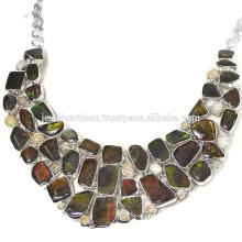 Ammolita natural y collar de plata esterlina 925 de la piedra preciosa de Opal