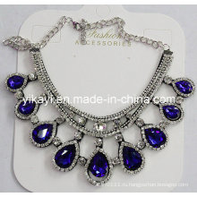 Женщины мода ювелирные изделия синий капли Кристалл стекла Кулон ожерелье (JE0210)