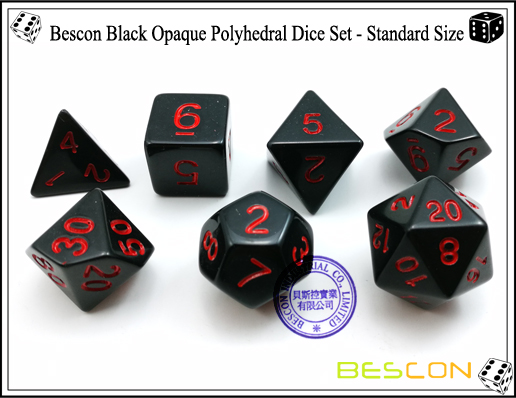 Bescon Black Opaque Polyhedral Dice Set-4