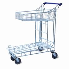 Warehouse Zinc Plated 2 Layers Flat Trolley Cart