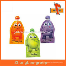 Flexible stand up bag resealable jute juice drink spout pouch bag for baby