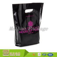 Fábrica al por mayor Heavy Duty Custom coloreó Polythene negro troquelado Mango pequeñas bolsas de plástico