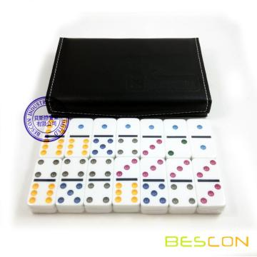 Leather Box Packing Double Six Domino Set