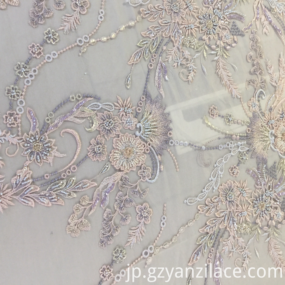 Light Color Handwork Beaded Bridal Dress Fabric