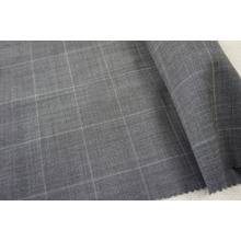 Gry Plaid Wool Fabric for Suit