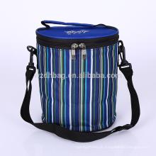 Venda quente reutilizável dobrável Poliéster Duplas Listrado Tiffin Lunch Box Tote Cooler Bag