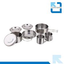 Pot de cuisine extérieure en acier inoxydable avec bols pour le camping