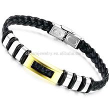 2015 nouveaux bracelet en cuir PU bracelets en acier inoxydable bijoux vintage tissés en or couleur PH767