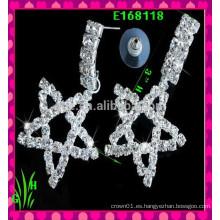 El más nuevo diseño Pendientes grandes del ornamento de la gota grande, nuevo rhinestone Los pendientes de cinco estrellas