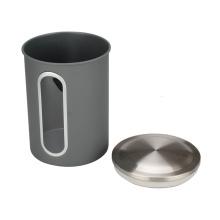 Vasilha de café de aço inoxidável com janela
