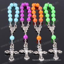Heißer Verkauf modisches katholisches Kristall-Rosenbeet-Armband mit Kreuz