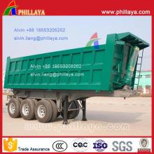 Reboque traseiro hidráulico resistente do caminhão da descarga 3-Axle semi