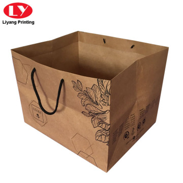 Kraft Paper Flower Print Gift Box Bag