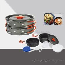 alta qualidade de alumínio pote de acampamento conjunto caminhadas mochila panelas conjunto de cozinha ao ar livre