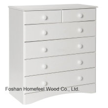 Armário de armazenamento de madeira branco tradicional de 6 gavetas (HC24)
