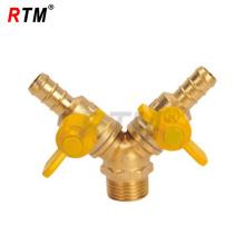 double-fork male thread brass gas valve