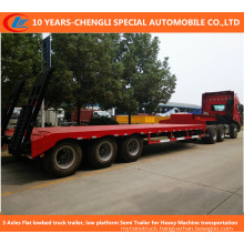 3 Axles Flat Lowbed Truck Trailer, Low Platform Semi Trailer