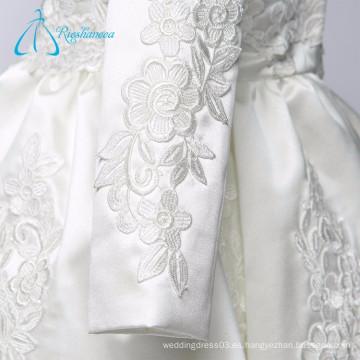 Cuello alto de manga larga de cremallera Lvory Little Queen vestido de niña de flores