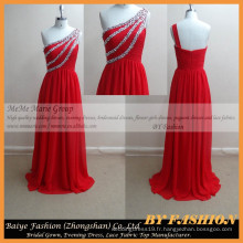 2017 tube rouge femme sexe robe de soirée ou noël Robes de soirée en mousseline de soie en mousseline de soie robe courte une épaule