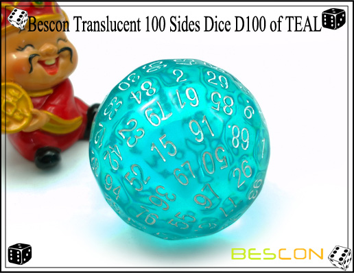Bescon Translucent 100 Sides Dice D100 of TEAL-2