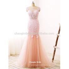 Lace hermosa Appliqued palabra de longitud sirena Tulle formal vestido de baile para el partido