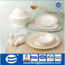 34шт новой столовой посуды из фарфора с золотыми блестящими волнами, пересеченными выступающими ободками