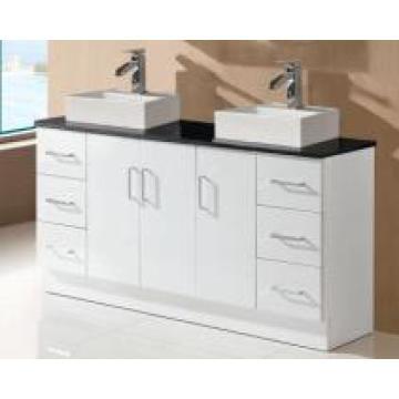 Vanidad doble brillante blanca del gabinete del cuarto de baño del cuarto de baño de las mercancías sanitarias (SK17-1500W-D)