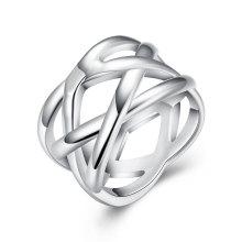 Западная мода сетчатой кольцо Серебряный позолоченный круглый кольцо для партии
