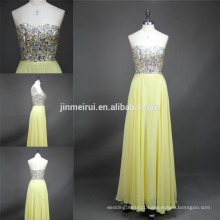 100% Real Sample High Quality Shinning Beaded Light Yellow Prom Gown Chiffon Custom Made Long Prom Dresses 2015 Evening Dresses