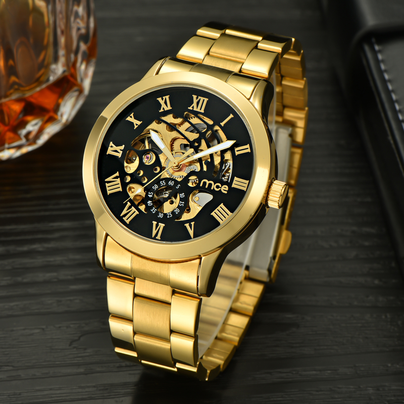 classic logos brand skeleton automatic mechanical watch