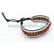 Amistad Piedra Roja Round Beads Wrap Pulseras
