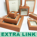 Display kraft transparent suitcase jewelry set box with ribbon handle